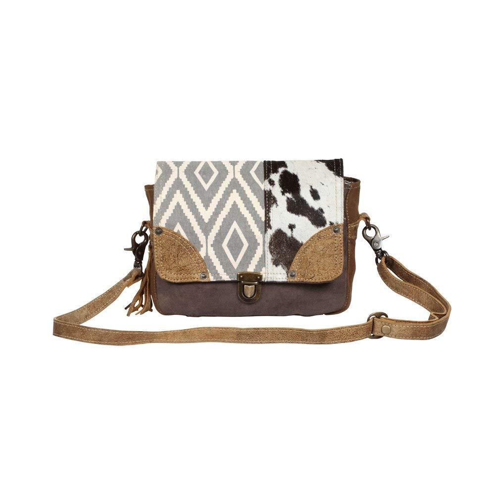 Myra Bag Tracery Design S-1344 リサイクルキャンバス&牛革メッセンジャーバッグ B07MTZRQQY