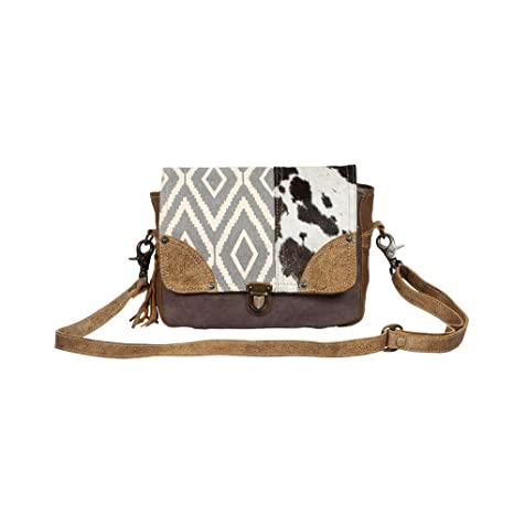 7556f65018db Amazon.com: Myra Bag Tracery Design Upcycled Canvas & Cowhide ...