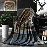 Unique Custom Double Sides Print Flannel Blankets Apartment Decor Collection Royal Palace Corridor Madrid Spain Historic Famous Euro Super Soft Blanketry for Bed Couch, Throw Blanket 60 x 50 Inches