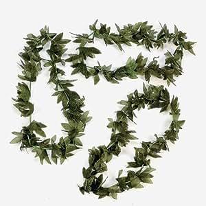 12 Tropical Fern Green Leaf Leis Hawaiian Luau Party