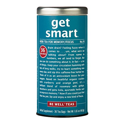 The Republic Of Tea Be Well Red Rooibos Tea - Get Smart - No.16 Herb Tea For Memory/Focus, 36 Tea Bag Tin