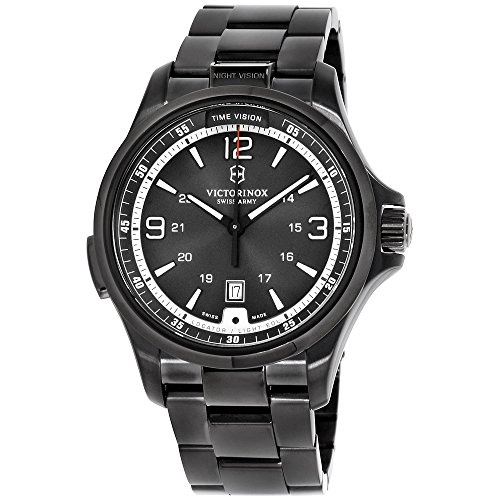 Victorinox Men's 241665 Swiss Army Night Vision Dark Grey Dial Black Ice PVD Steel Watch (Watch Ice)