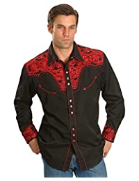 Scully Western Shirt Men L/S Snap Embroidered Floral 2XL Crimson P-634