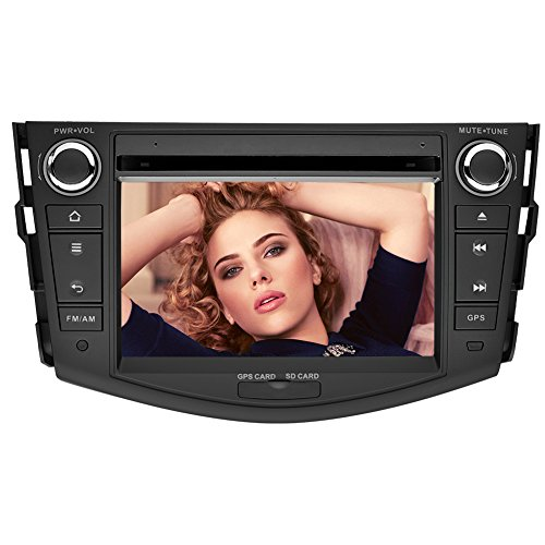 YINUO 7 Inch 800480 Touch Screen HD Car DVD Player GPS Stereo for Toyota RAV4 2006-2012 In Dash Navigation AV Receiver w/iPod-iPhone Music Radio Steering Wheel Control Bluetooth DVR 1080P-Video
