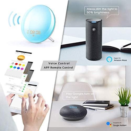 Smart Wake Up Licht Lichtwecker Unterstützt WiFi Sonnenaufgang Sonnenuntergang Simulation FM Radio Wecker mit Alexa & Google Home für Erwachsene & Kinder