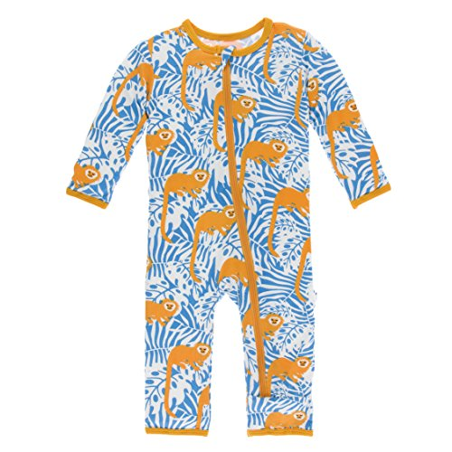 (Kickee Pants Print Coverall with Zipper in Tamarin Monkey, 0-3 Months )