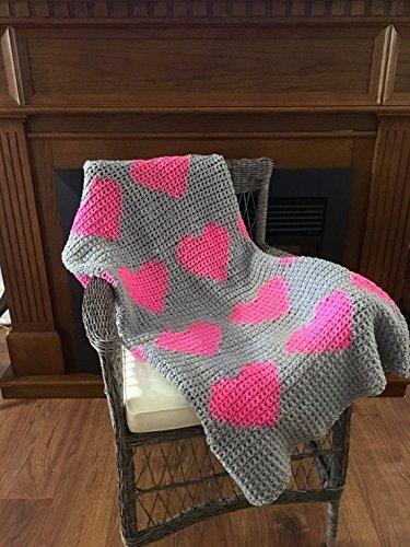 Crochet Modern Pink Heart Baby Blanket by Penguin Yarns
