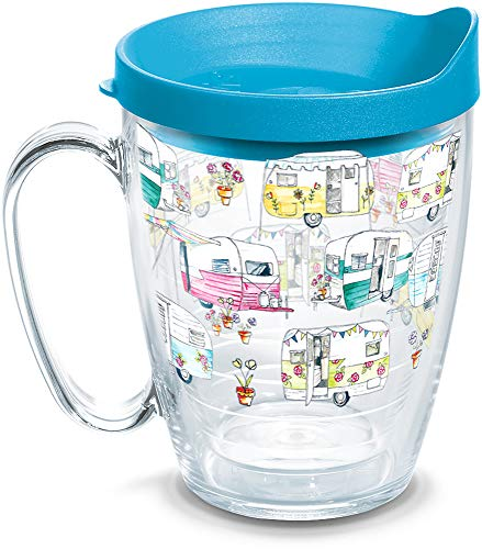 Tervis 1322110 Colorful Camper Insulated Tumbler with Wrap and Lid, 16 oz Mug - Tritan, Clear