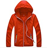 Panegy Mens Lightweight Running Travel Rain Jacket Womens Windbreaker Water Resistant Orange L