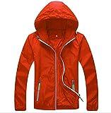 Panegy Mens Lightweight Running Travel Rain Jacket Womens Windbreaker Water Resistant Orange 2XL