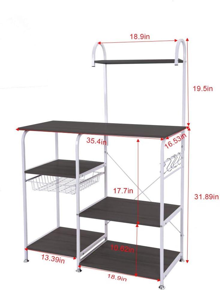 Kitchen Utility Storage 3-Tier+4-Tier for Baker/'s Rack /& Spice Rack Organizer Workstation Shelf【Ship from USA 】 Microwave Cart Stand 35.4 White