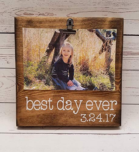 Best Day Ever, Wedding Photo Board, Vacation photo holder, gotcha day, adoption, oh happy day, picture frame with clip, 4x6 photo holder, 7x7 typewriter font