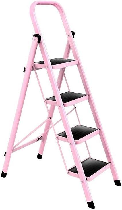 MMAXZ 4 Pasos Escalera Plegable Altura 128 cm Hierro Rosa ...