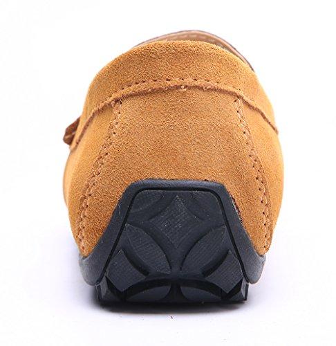 Yzhyxs Mens Körning Öre Klänning Loafers Mocka Förar Mockasiner Halka På Skor Ljusbrun