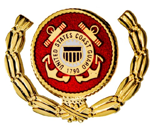 US Coast Guard Wreath USCG red enamel gold plated hat lapel pin D23