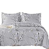SexyTown - Botanical Comforter Set King Size,All Season Reversible Tree Branch Flower Grey Printed Bedding Set with Pillow Shams 3 Piece Machine Washable