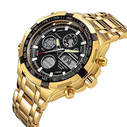 Men Gold-Toned Chronograph Quartz Watch Fashion Military Stainless Steel Waterproof Analog Digital Wristwatch