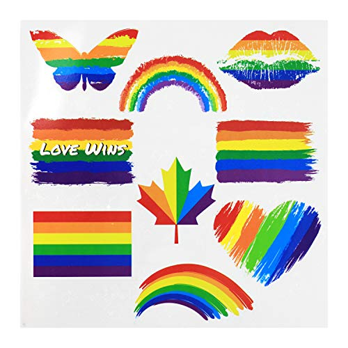 Fiomia Pride Tattoos Temporary Rainbow Flag Set Stickers for Pride Parades Festival Waterproof Body Paints 3 Sheets 27Pcs
