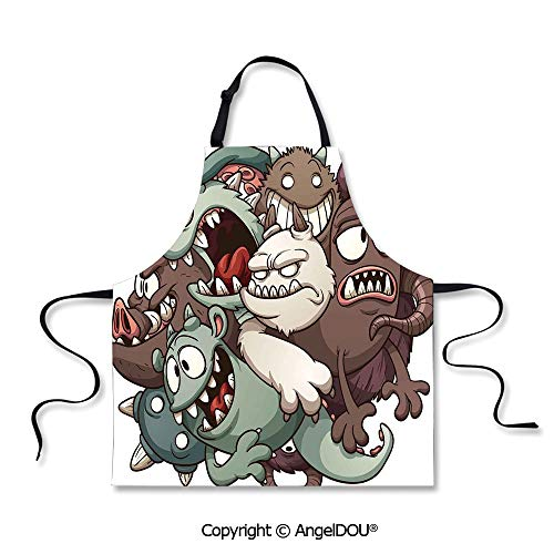SCOXIXI Printed Unique Cool Kitchen Apron Cute Monsters