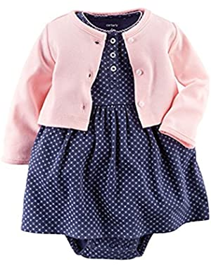 Baby Girls' 2 Piece Floral Dress Set Pink/Navy-NB