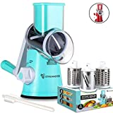 LOYALMASTER Rotary Cheese Grater - Manual Slicer Grinder Graters for Kitchen - Round Drum Food Shredder for Vegetable, Carrot, Salad, Nut Chopper - 3 Stainless Steel Drums - Strong Suction Base