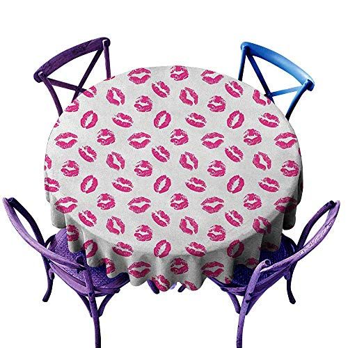 - ONECUTE Stain Resistant Round Tablecloth,Kiss Vibrant Colored Lipstick Kiss Print Smooch Abstract Hot Pink Grungy Look Feminine,Table Cover for Home Restaurant,55 INCH Fuchsia White