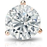 3-Prong Martini Set 0.08cttw, White, VS2-SI1 Diamond Wish 14k Gold Round SINGLE Diamond Stud Earring Push-Back