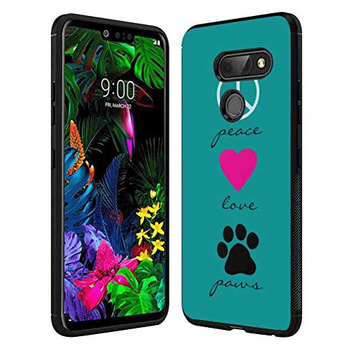 (Cell Phone Case Fit LG G8 ThinQ (6.1 Version) Peace Love Paws Peace Sign Mark Symbol Pink Rose red Heart Dog pet Paws Love Quotes)