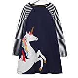 VIKITA Toddler Girl Unicorn Navy Cotton Loose Long Sleeve Dress Baby Girls Winter Casual Dresses 1-8 Years (7T, JM7656)