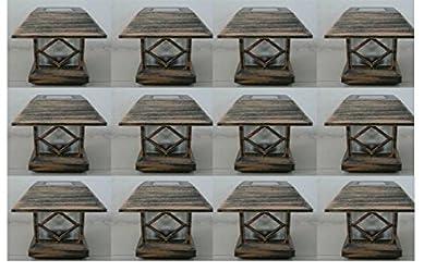 12 Kits New Bronze Outdoor Garden Solar Panel Post Deck Cap Light