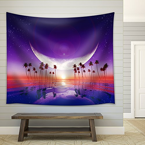 Big Moon Over Purple Sunset at Tropical Sea with Stars Fabric Wall