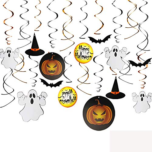 KissDate 30pcs Halloween Hanging Swirls with Scary Pumpkins Ghosts Bats Party Supplies Swirl Ceiling Hanging Halloween Party Decorations Sets