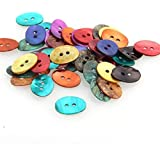 Skyllc 50 X Oval Mother of Pearl Shell Craft Buttons 15x11mm CHIC