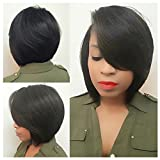 lady parts - Lady Miranda Short Straight Side Part Wigs with Side Fringe Pure Black Color Synthetic Hairstyle Wigs for Women (Black)