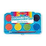 Melissa & Doug Jumbo Watercolor Set - 8 Colors in Sturdy Flip-Top Case With Deluxe Brush