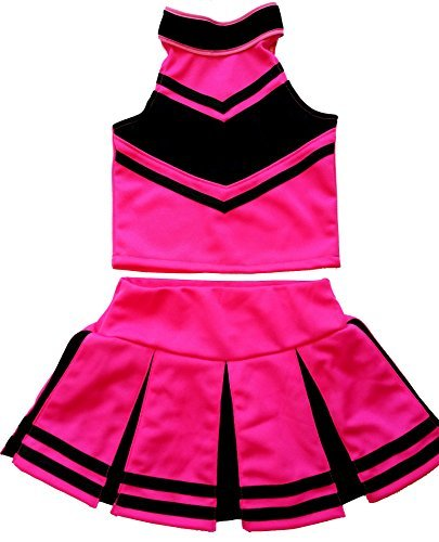 Little Girls' Cheerleader Cheerleading Outfit Uniform Costume Cosplay Halloween Pink/Black (S / 2-5) -
