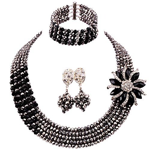 - aczuv 5 Rows Nigerian Beads Jewelry Set African Beads Necklace Wedding Party Jewelry Sets (Silver Black)
