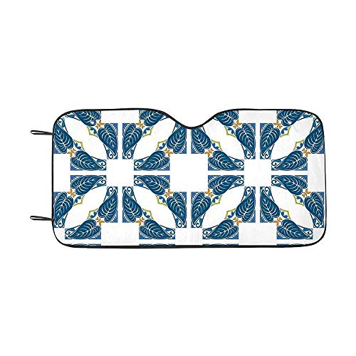 - Traditional House Decor Durable Car Sunshade,Portuguese Pavement Azulejo Mosaic with Diagonal Square and Shapes for car,55
