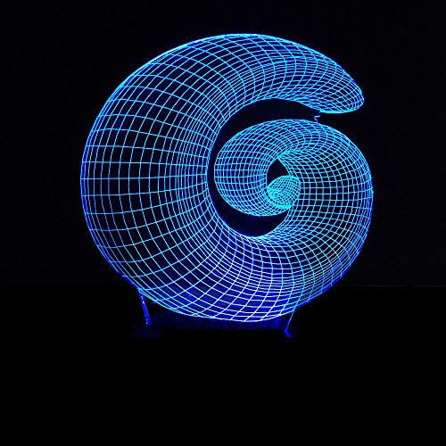 Spiral Abstract 3D Night Light Touch Table Desk Lamp 7 Color Changing Optical Illusion Lights with Acrylic Flat, ABS Base, USB for Holiday [Energy Class A+++]