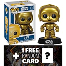 "C-3PO: ~3.75"" Funko POP! Star Wars Vinyl Bobble-Head Figure w/ Stand + 1 FREE Official Star Wars Trading Card Bundle [23878]"