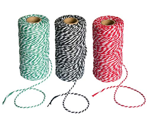 Zagtag 3 Rolls 984 feet Totally Christmas Cotton String Gift Wrapping Cords Baker Twines for Gift Wrapping Christmas Decoration Supplies, 3 Colors