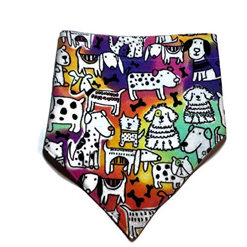 Fitted Face Mask adult child Matching Rainbow Tie-Dye Cartoon Reversible Puppy Dog Bandana Around head elastic fabric ties Adjustable Fit Snap-On Personalized Premium Durable Fabric 100/% Cotton
