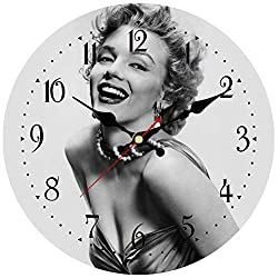 ShuaXin Simple American Style Wooden Wall Clock,14 Inch Light Gray Home and Office Decoration Wall Clock,Marilyn Monroe Pattern Quartz Art Wall Clock