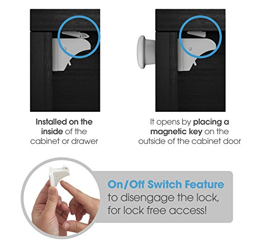 Sure Basics Baby Proofing Magnetic Child Safety Locks, 4 Pack, 1 Key by Sure Basics (Image #1)