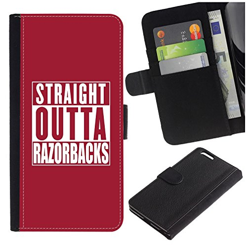 [Straight Outta Razorbacks (Team Color)] For Samsung Galaxy S7 edge (Curved screen,NOT FOR S7)/S7 edge Duos/G930 PU Flip Leather Wallet Holsters Pouch Skin (Razor Duo)
