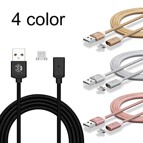 UGI Micro USB Magnetic Cable 2 Pack 3ft Nylon Braided Data Transfer Fast Charging USB Cable Android with Led Light for Samsung Galaxy S2 S3 S4 S6, Note 2/3/4/5,LG G4 G3, Sony Xperia Z5 etc