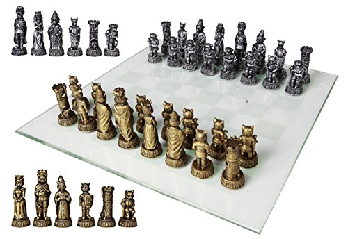 Ebros Animal Kingdom Cats Versus Dogs Chess Set Resin Character Pieces with Fine Glass Board Set