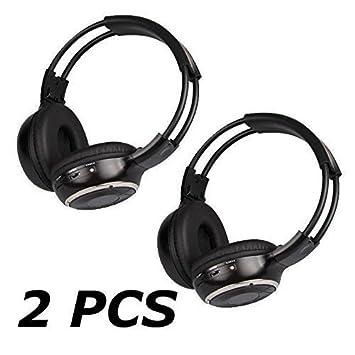Mvpower Auriculares Casco Inalámbrico Plegabe Estéreo Infrarrojos IR Doble Canal para Reproductor DVD de Coche Auto, Color Negro (2 unidades): Amazon.es: ...