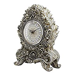TOYM US European-style living room clock creative retro fashion silent resin carved table clock 25 35.5 12.5cm ( Color : Antique silver )