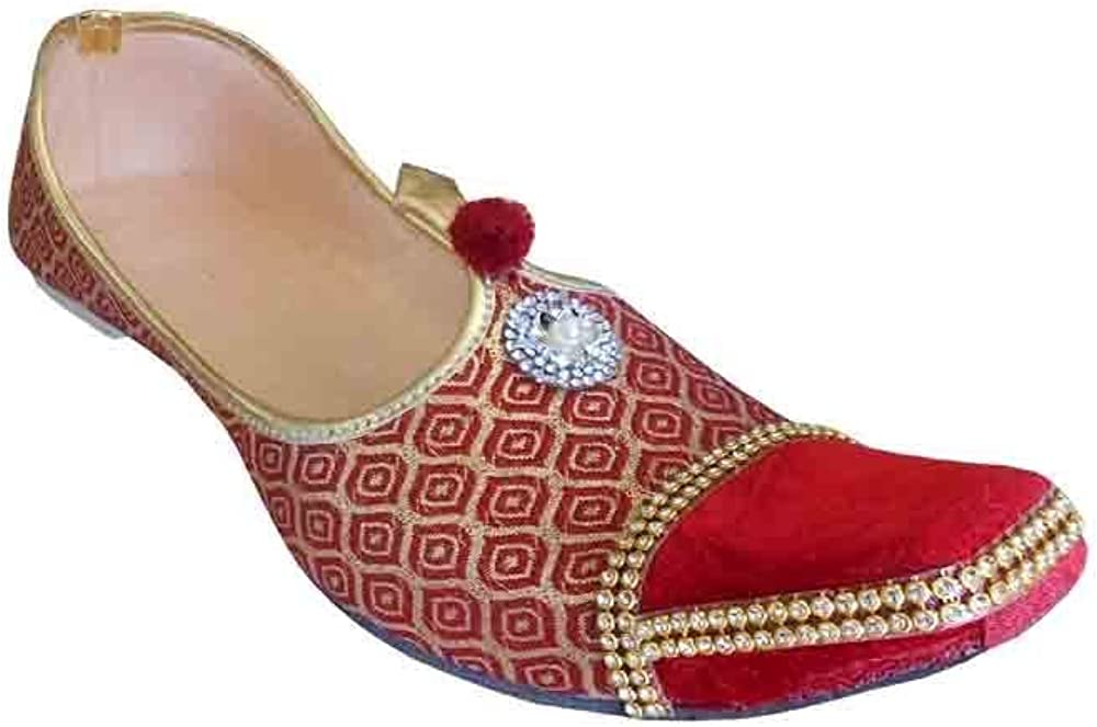 Kalra Creations Men Jutties Indian Handmade Sherwani Groom Khussa Maroon /& Golden